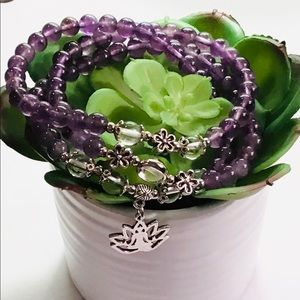 Jewelry - Amethyst Crystal Budda in Lotus Bracelet Necklace